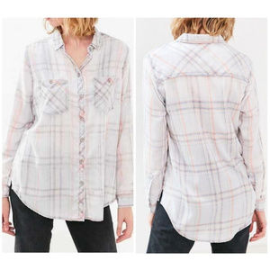 BDG nelly plaid washed button up flannel H24
